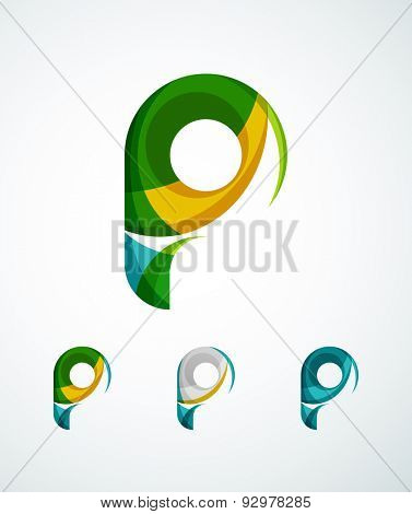 Abstract  company logos. Business icons made of overlapping flowing waves. Light color modern minimal design