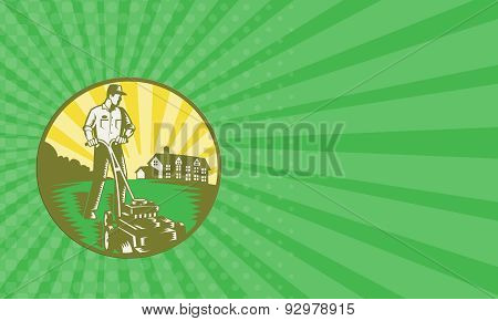Business Card Gardener Mowing Lawn Mower Retro