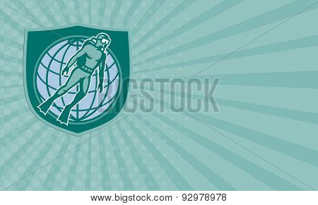 Business Card Scuba Diver Diving Dive World Shield