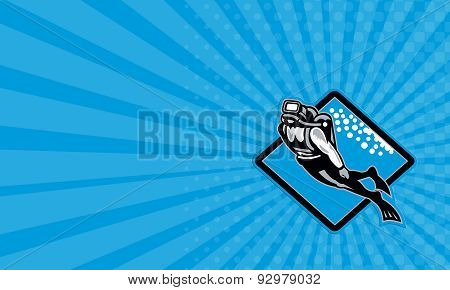 Business Card Scuba Diver Diving Retro