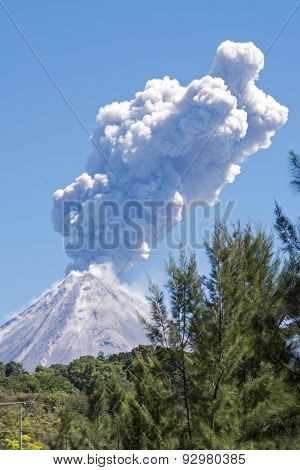Colima Volcano With Steam Eruption