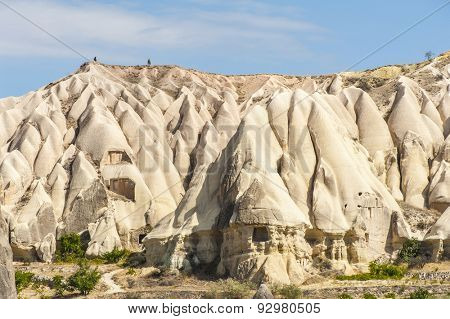 Vivid rock formations from above in Cappadocia, Turkey