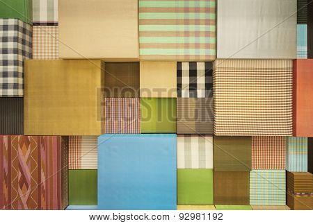 Variety Of Scott Fabric Close Up Background.