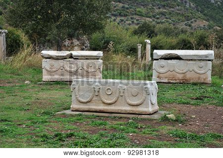 Burial caskets or sarcophagi excavated at Ephesus, Turkey