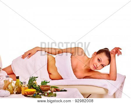 Young woman wating massage in spa treatment . Isolated.