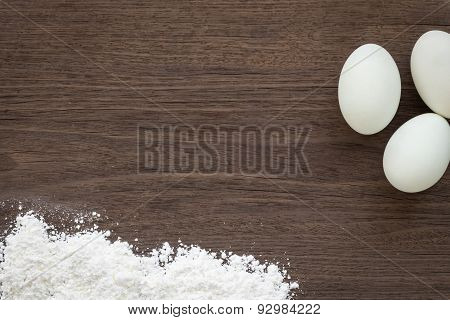 Cooking Background, Eggs And Flour On Desk