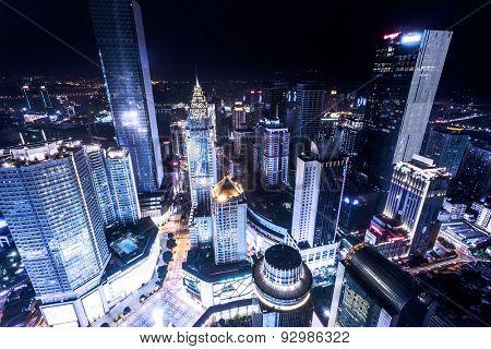 illuminated skyscrapers in chongqing