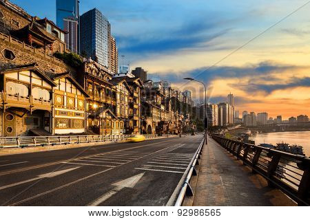 Empty road near vintage building in chongqing