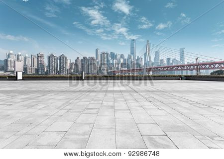 modern skyline and empty road