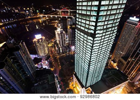 High angle view of skyscrapers in chongqing at night