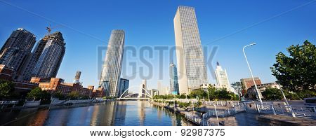 low angle view of skyscrapers and skyline