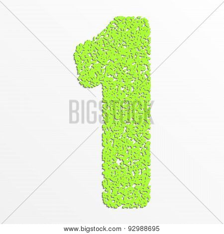 Vector colorful digits with grain texture, digit 1