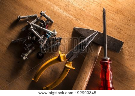 Set Of Dirty Old Hand-tools. Close-up