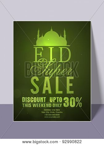 Glossy green super sale flyer, banner or template with limited time discount offer for muslim community festival, Eid celebration.