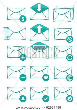 Email And Text Messaging Vector Icon Set
