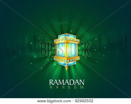 Beautiful illuminated lantern on mosque silhouetted green shiny rays background for Islamic holy month of prayers, Ramadan Kareem celebration.