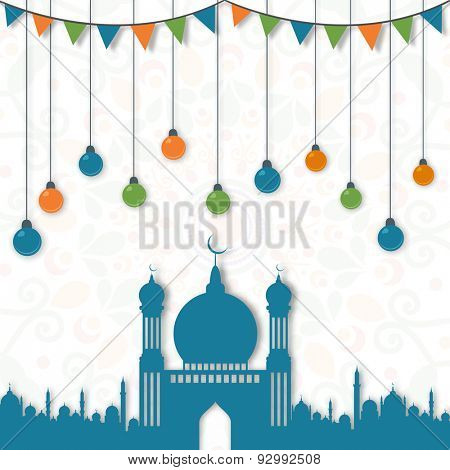 Beautiful blue mosque with colorful hanging lights and bunting decoration on artistic floral pattern background for Islamic holy month of prayers, Ramadan Kareem celebration.