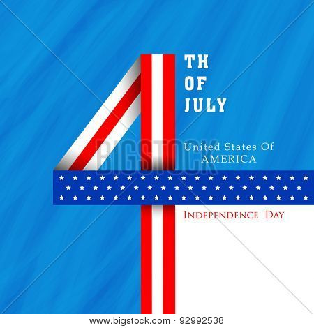 Stylish text 4th of July made by ribbon in national flag color on grungy blue background for American Independence Day celebration.