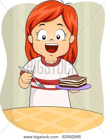 Illustration of a Little Girl Holding a Saucer of Tiramisu