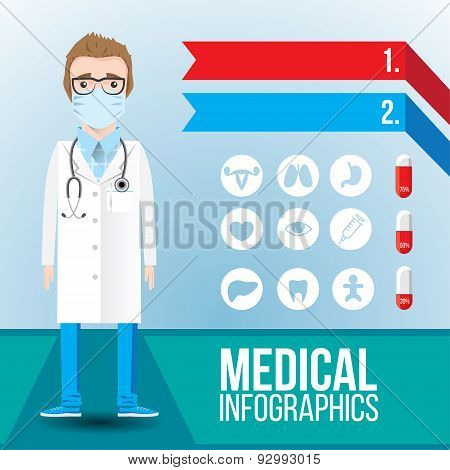 Medical Infographic. Young Smiling Man Doctor With Stethoscope