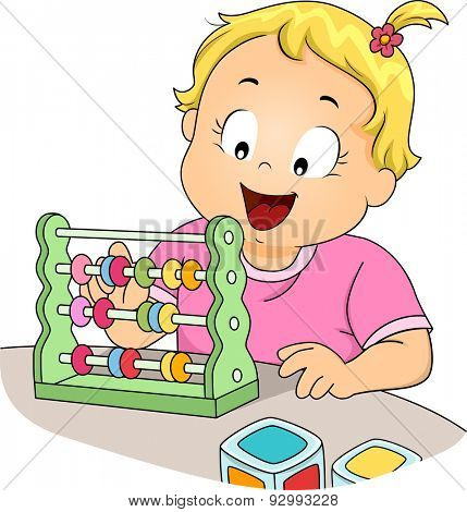 Illustration of a Little Girl Learning to Use the Abacus