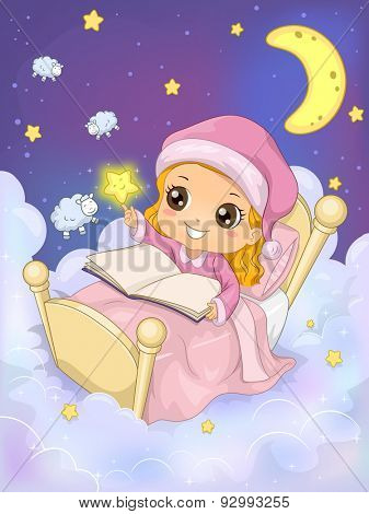 Whimsical Illustration of a Girl Reading a Book in the Sky - EPS 10