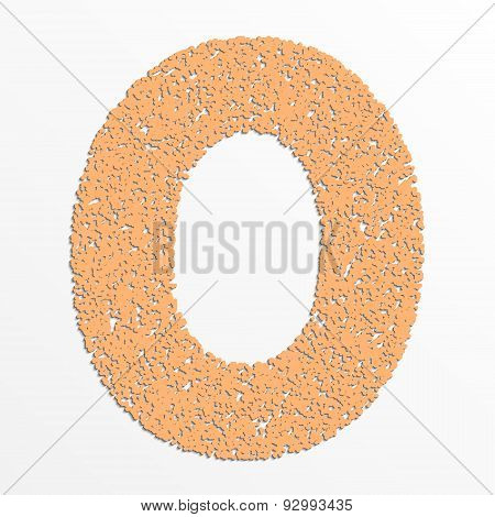 Vector colorful digits with grain texture, digit 0