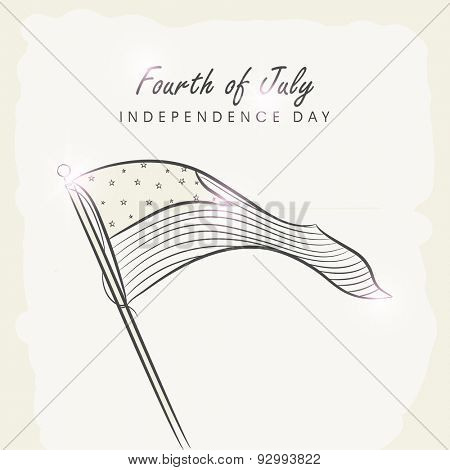 4th of July, American Independence Day celebration greeting card with national flag waving on vintage background.