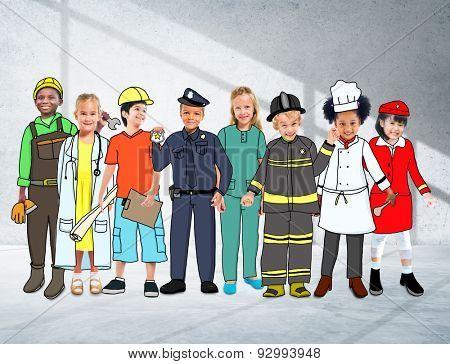 Children Kids Dream Jobs Diversity Occupations Concept