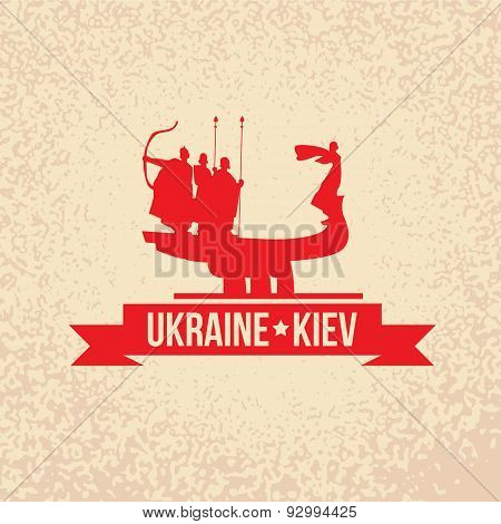 The sculpture of Kiev founders - the symbol of Kiev, Ukraine.