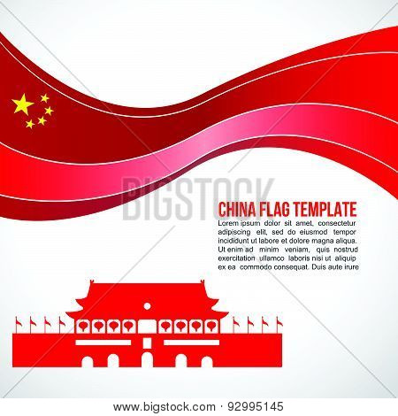 Abstract China flag wave and tiananmen square, Beijing