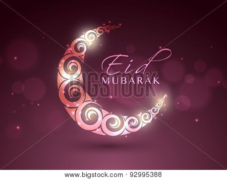 Creative glowing crescent moon on shiny background for Islamic festival, Eid celebration.