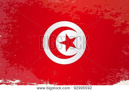 Tunisia Grunge Flag