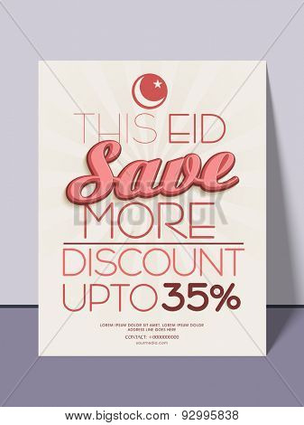 Sale flyer, template or banner with 35% discount offer for muslim community festival, Eid celebration.