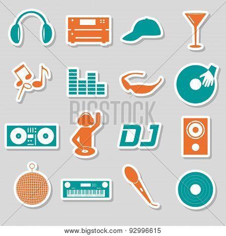 Music Club Dj Color Simple Stickers Set Eps10