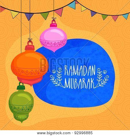 Colorful hanging lanterns with bunting decoration on seamless yellow background for Islamic holy month of prayers, Ramadan Mubarak celebration.