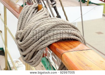 Closeup Of Thick Ropes On Sailboat