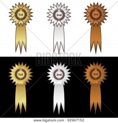 Gold Silver And Bronze Medal With Ribbons Eps10