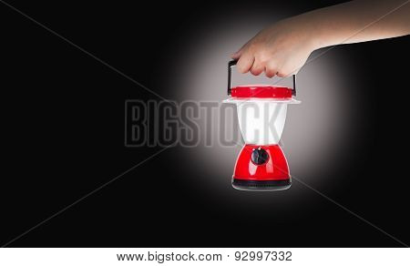 Hand Woman Holding Plastic Electric Lantern