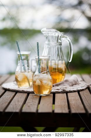 Ice tea with mint leaves