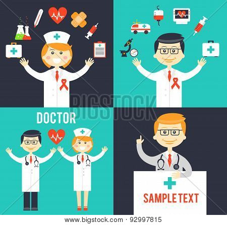 Doctors with medical icons posters