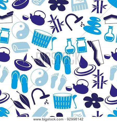 Spa And Relaxation Simple Blue Seamless Pattern Eps10