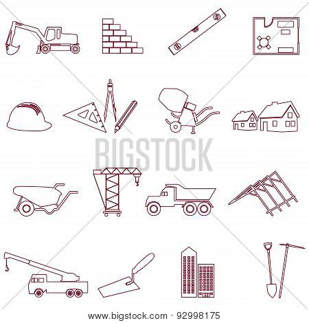Construction And Work Simple Outline Icons Set Eps10