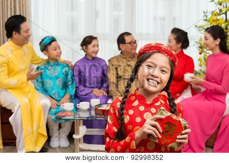 Girl With Traditional Cake