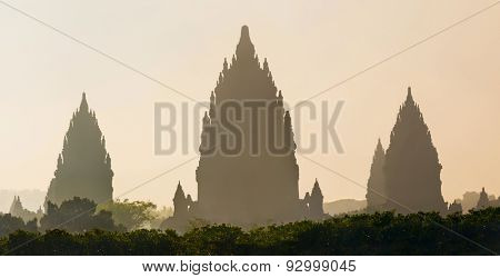 Sunrise over Prambanan temple near Yogyakarta on Java island, Indonesia