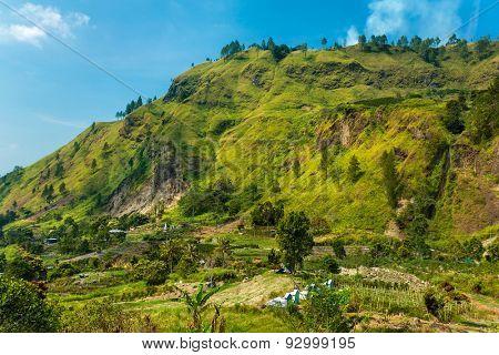 Beautiful rural landscape near lake toba in North Sumatra, Indonesia