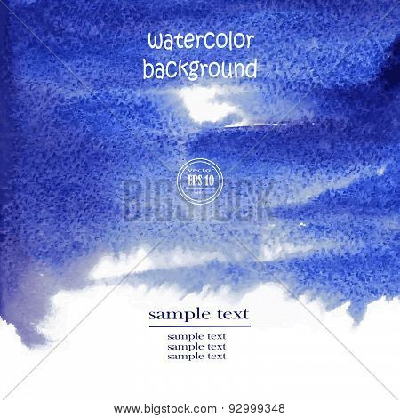 Vector Abstract Blue Watercolor Background For Your Design