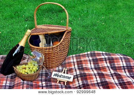 Summer Weekend Picnic With Wine On The Lawn Concept