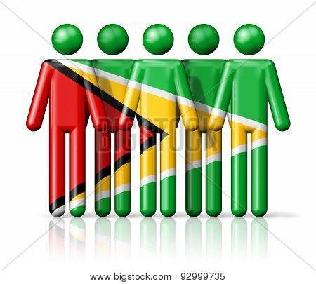 Flag Of Guyana On Stick Figure