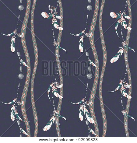 Seamless pattern of hanging bird feathers and colorful bijouterie